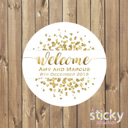 Personalised Wedding Stickers - Welcome Design